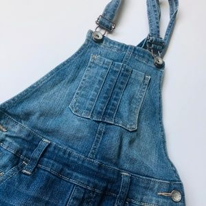 Justice jean overalls with lace trim!